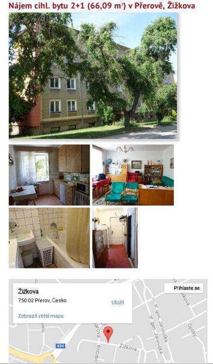 Pronájem bytu 2+1 v Přerově