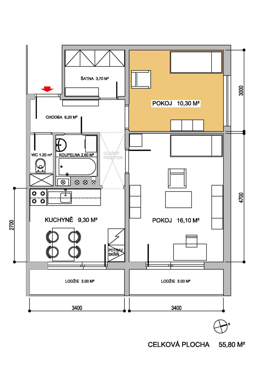 Pronájem pokoje v bytě 2+1 v Brně - Horních Heršpicích