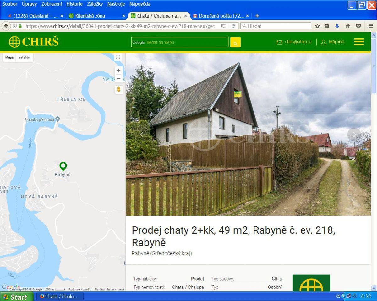 Prodáme chatu na Rabyni - cca 900 m od jezera
