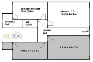 Pronájem kanceláře (19m2) + spol. místnost (12m2) + kuchyňka + soc. zař., Praha 10 (Hostivař) 1