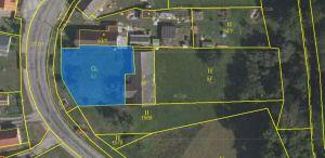 Prodáme v obci Podmyče dvě zahrady, které jsou rozděleny stodolou 1